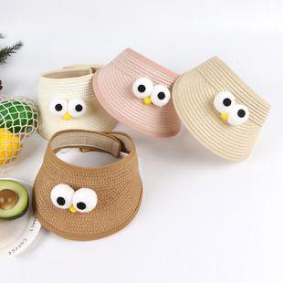 Primavera y verano nuevo sombrero de paja para niños coreanos hombres y mujeres visera de bebé sombrero de ojos grandes NHTQ206918's discount tags