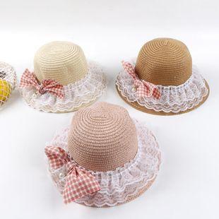 Sombrero de pescador coreano de primavera y verano femenino delgado transpirable bebé princesa paja sombrero para el sol NHTQ206923's discount tags