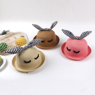 Sombrero de paja para niños de verano sombrero de playa femenino sombrero de sombrilla delgada para niñas sombrero fresco NHTQ206924's discount tags