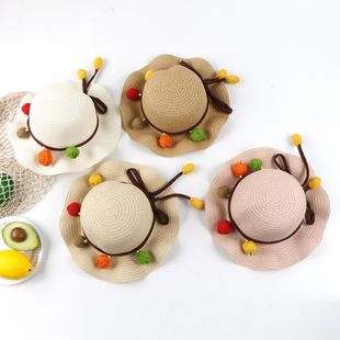Protección solar sombrero de playa niña sombrero de paja bolsa bebé sol pescador sombrero marea sombrero de ala grande NHTQ206926's discount tags