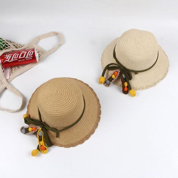 Sombrero de paja para niños, protección solar para el sol de verano, princesa coreana, sombrero para el sol de playa, sombrero de paja para niños, sombrero para el sol plegable NHTQ206936