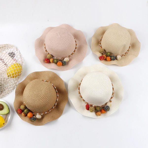 Protección solar de verano princesa sombrero de playa en el extranjero sombrero de sol niña sombrero de paja sombrero de sol sombrero de pescador de bebé NHTQ206941