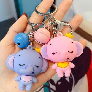 Dibujos animados coreanos lindo pequeño elefante llavero muñeca pareja llavero campana accesorios al por mayor NHBM206959's discount tags