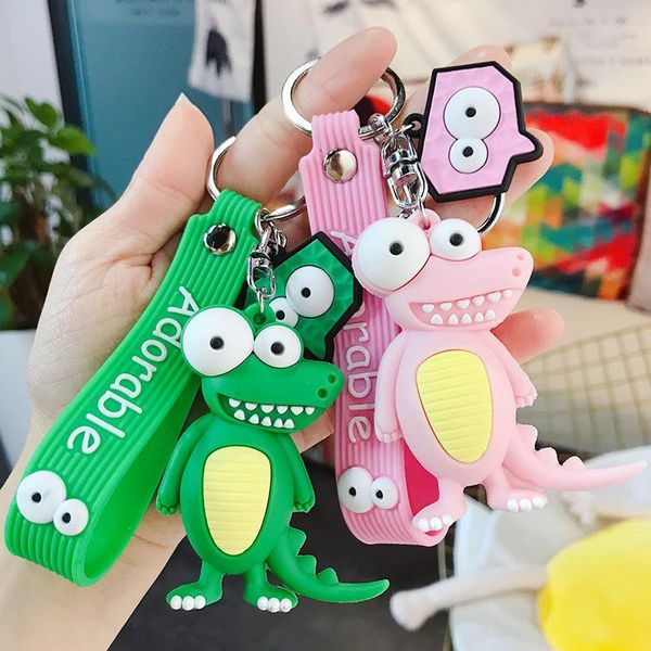 Crocodile car keychain female cartoon keychain pendant bag pendant car key ring chain wholesale NHBM206963