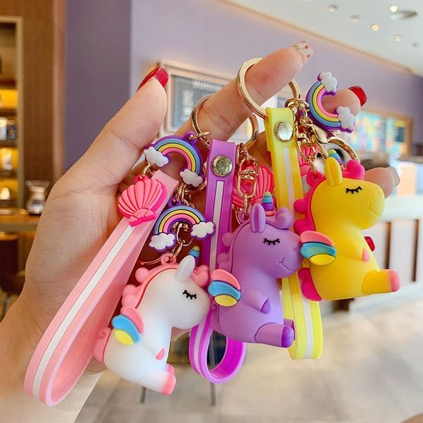 Korean creative rainbow unicorn key chain cute cartoon doll key chain bag pendant wholesale NHBM206968