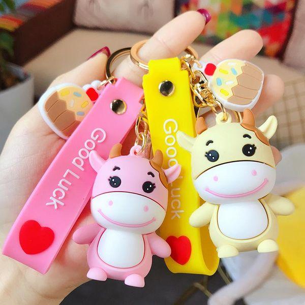 Cute Dipping Baby Cow Keychain Trend Cartoon Girl Colgante Bolsa Accesorios Coche Llavero NHBM206976