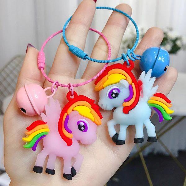 Cartoon Epoxy Colored Horse Wire Rope Pendant Korean Car Key Chain Bag Bag Wholesale NHBM206983