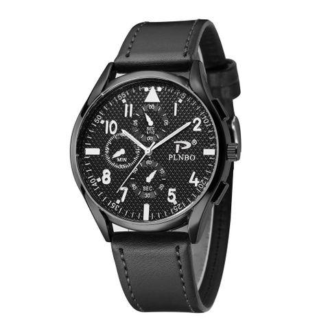 Reloj de hombre con esfera grande Tres ojos cóncavo Caja negra Cinturón Reloj de negocios Reloj de hombre NHSY207036's discount tags