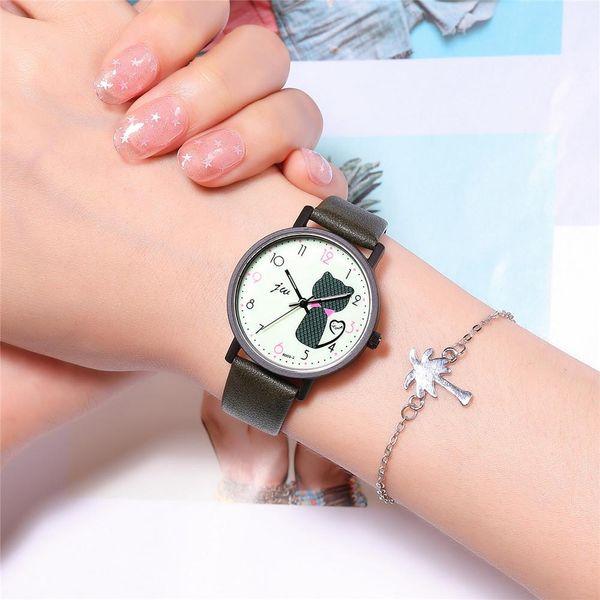 Korean Simple Fashion Digital Quartz Belt Watch Student Watch Cute Kitty Lady Casual Watch NHSY207048