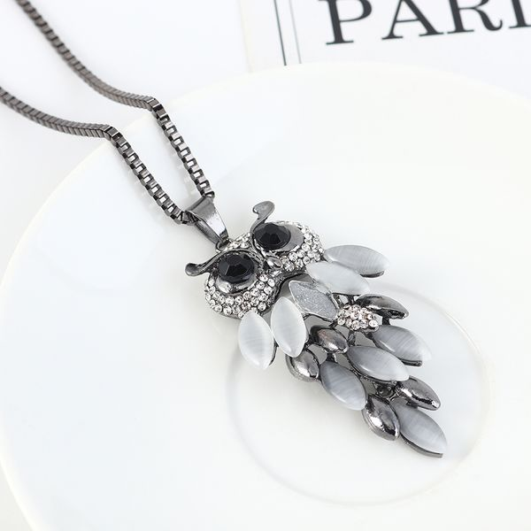 Korean fashion simple owl resin vintage sweater chain NHPS207013