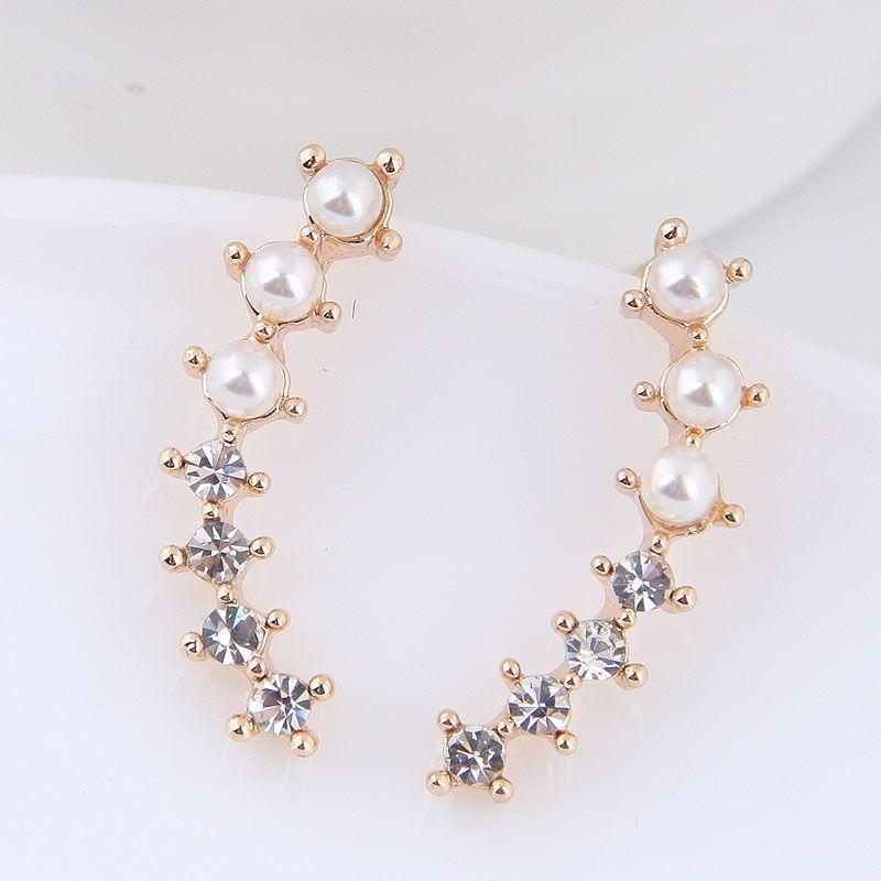 Korean fashion sweet OL wild flash diamond pearl earrings yiwu wholesale NHSC207153