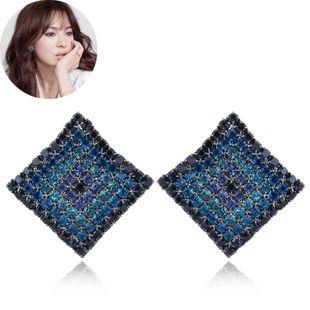 Korean fashion sweet OL flash diamond three-dimensional square earrings yiwu wholesale NHSC207152's discount tags
