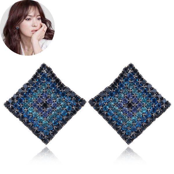 Korean fashion sweet OL flash diamond three-dimensional square earrings yiwu wholesale NHSC207152