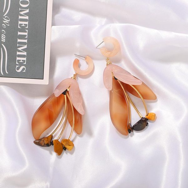 New fashion exaggerated resin terrazzo flower earrings women wholesale NHJQ206531
