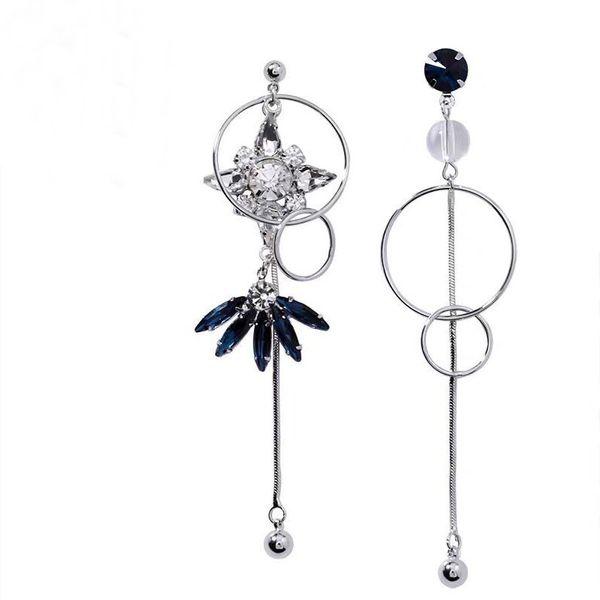 925 Silver Needle Korean Fashion Sweet Ol Simple Shining Gem Asymmetric Earrings Yiwu Wholesale NHSC206642