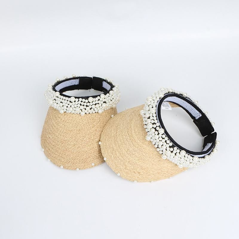 New fashion pearl outdoor sun hat straw wholesale NHTQ206934
