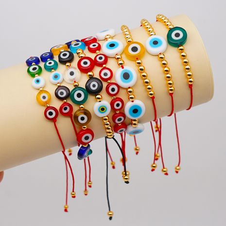 Simple and fashionable color colored glass evil eye color gold beads bracelet wholesale NHGW213167's discount tags