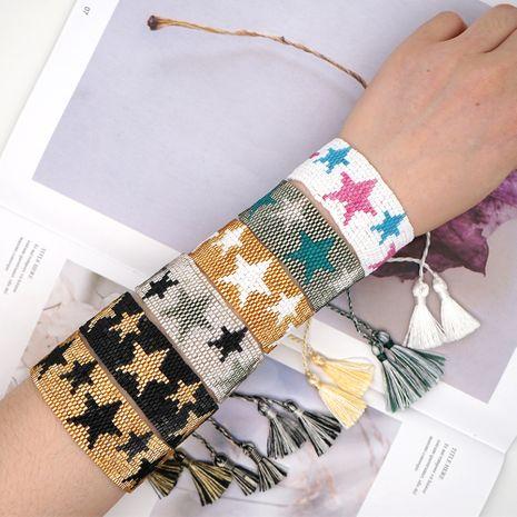 Nouvelle mode bohème ethnique style perles de riz tissé à la main bracelet à cinq branches motif étoile NHGW213168's discount tags