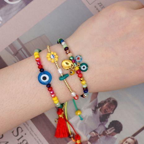 New Fashion Rainbow Crystal Tassel Bracelet Simple Glass Evil Eye Bracelet NHGW213171's discount tags