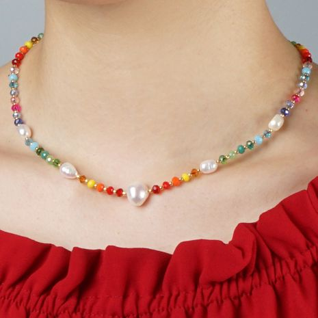 Miyuki Simple Rainbow Crystal Pearls Pearls Natural Baroque Pearl Necklace NHGW213179's discount tags
