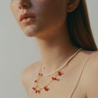 Nuevo collar de cereza de fruta hecho a mano de múltiples capas nuevo collar de grano de arroz tejido NHLA213196