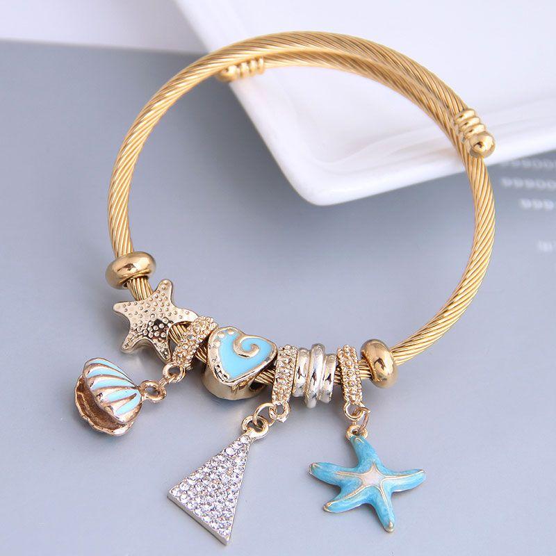 Fashion metal wild pan DL starfish seashell triangle pendant multi-element accessories bracelet nihaojewelry wholesale bracelet NHSC213449
