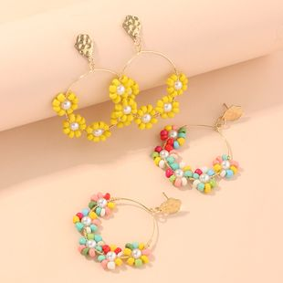 Spring new fashion candy-colored rice beads earrings colored flowers earrings NHNZ213255's discount tags