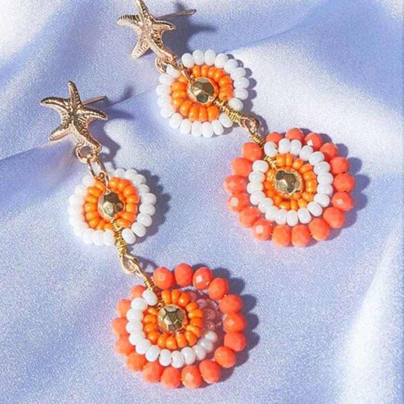 New boho style colored rice beads earrings starfish geometric earrings nihaojewelry wholesale NHNZ213271