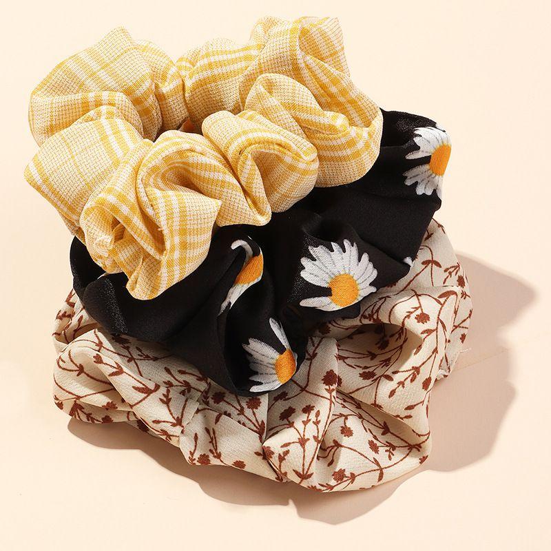 Fashion hair scrunchies wholesale yiwu nihaojewelry large intestine hair ring chiffon small daisy head rope set NHNZ213273