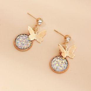 Nueva moda simple ronda pendientes de resina romántica mariposa pendientes nihaojewelry al por mayor NHNZ213280's discount tags
