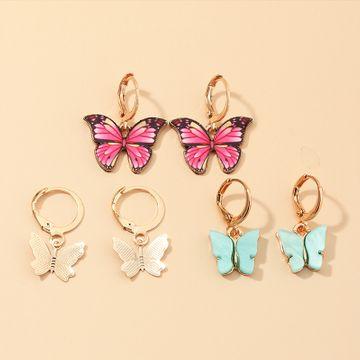 Nueva moda color mezclar y combinar pendientes de mariposa conjunto nihaojewelry al por mayor NHNZ213281