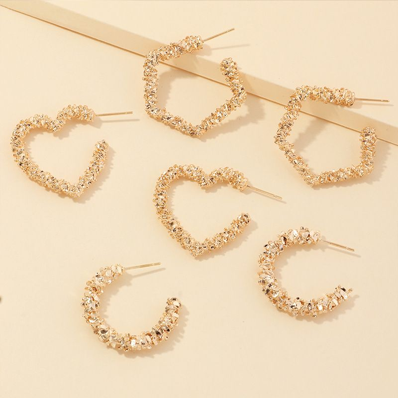 New fashion bump texture love five-pointed star metal earrings set nihaojewelry wholesale NHNZ213282