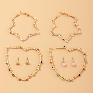 Nueva moda flores geométricas aretes de amor pendientes de perlas de arroz de cuerda manual establecidos nihaojewelry al por mayor NHNZ213289's discount tags