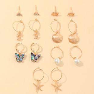 Nueva moda marine fan shell pendientes de perlas pendientes de mariposa set nihaojewelry al por mayor NHNZ213296's discount tags
