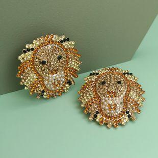 Pendientes de animales simples de nueva moda pendientes de diamantes de león al por mayor nihaojewelry NHJJ213308's discount tags