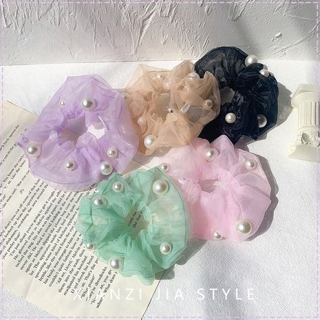 Fashion hair scrunchies wholesale yiwu nihaojewelry frosted pearl organza head rope NHOF213332's discount tags