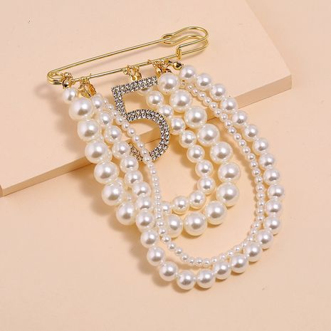Fashion wild pearl tassel flash diamond brooch creative 5 word brooch NHKQ213343's discount tags