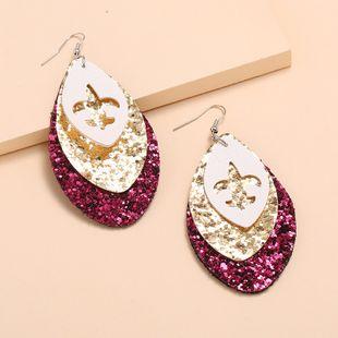 Nueva moda retro tres capas de cuero huecos gráficos pendientes nihaojewelry al por mayor NHKQ213346's discount tags