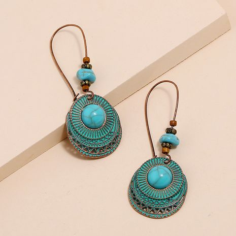 New Retro Bohemian Blue Turquoise Geometric Earrings Peacock Blue Round 3 Layer Shell Earrings NHKQ213351's discount tags