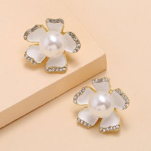 Simple and stylish wild white pearl flower diamond earrings nihaojewelry wholesale NHKQ213357's discount tags