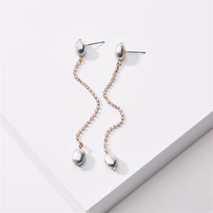 Pendientes de cadena de garra de perla natural de nueva moda nihaojewelry al por mayor NHLU213370's discount tags