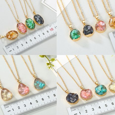 New fashion shell necklace imitation natural stone water drop pendant necklace nihaojewelry wholesale NHGO213379's discount tags