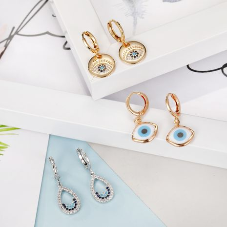 Fashion Jewelry Micro-Eyeed Ear Rings Turkish Blue Eye Zircon Earrings Delicate Diamond Drop Earrings Wholesale yiwu nihaojewelry NHGO213383's discount tags