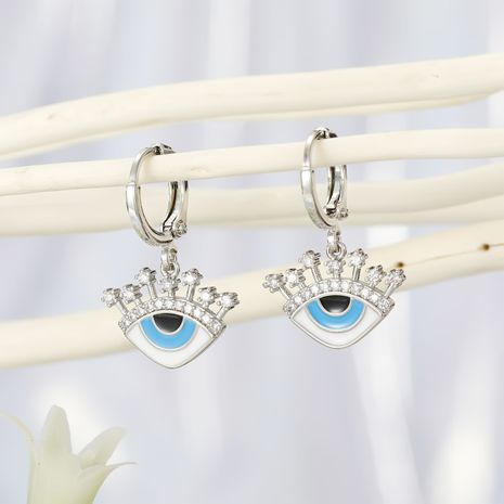 Fashion jewelry micro-set eyes earrings Turkish blue eyes zircon earrings drip oil-set diamond earrings wholesale yiwu nihaojewelry NHGO213390's discount tags
