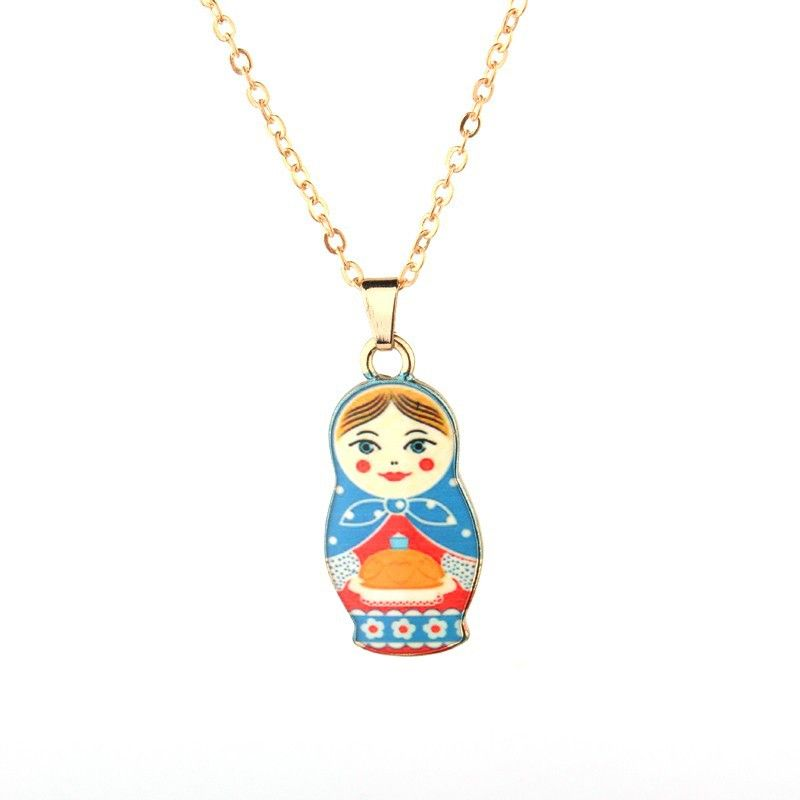 New fashion Russian matryoshka necklace color printed doll pendant necklace nihaojewelry wholesale NHGO213402