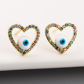 New Fashion Devil's Eye Hollow Hollow Studs Copper Inlaid Color Zircon Earrings Wholesale NHLN213408