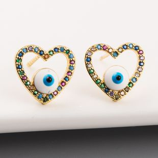 Nueva moda Devil's Eye Hollow Hollow Studs Pendientes de cobre con incrustaciones de color circón al por mayor NHLN213408's discount tags