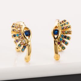 New Devil's Eyes Earless Ear Clips Copper Inlaid Color Zircon Ear Clips nihaojewelry Wholesale NHLN213410