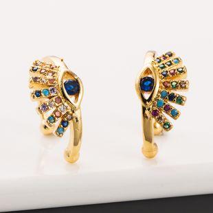 Nuevos clips de oreja sin orejas Devil's Eyes clips de cobre con incrustaciones de color circón nihaojewelry al por mayor NHLN213410's discount tags