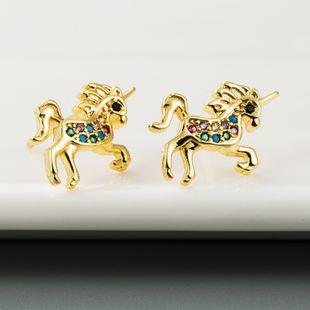 Nueva moda unicornio pendientes cobre plateado oro real micro incrustaciones de constelación de circón nihaojewelry al por mayor NHLN213409's discount tags